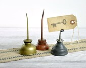 Vintage Mini Oil Can Collection / Repurposed Wire Holder