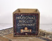 Vintage Industrial Rustic Wood Crate / Industrial Storage / National Biscuit Co. Crate