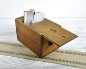 Vintage No. 5 Wood Box with Sliding Lid / Industrial Storage