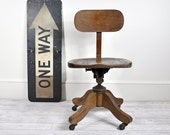 Vintage Wood Office Swivel Chair / Desk Chair / Office Decor