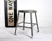 Vintage Industrial Metal Factory Stool / Industrial Decor