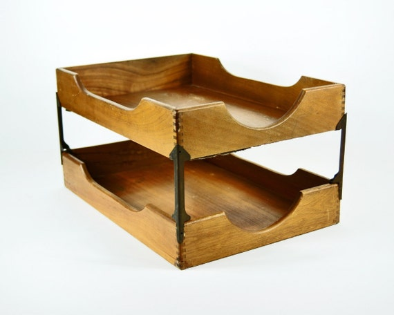 Vintage wood and metal two tier desk organizer - Wood desk organizer ...