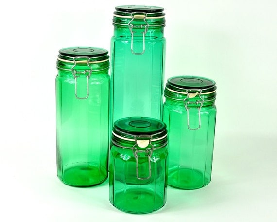 green glass kitchen canisters vintage set of green glass canisters 3987