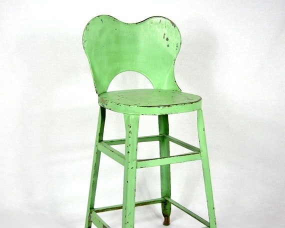 Vintage Green Painted Industrial Metal Stool with Back