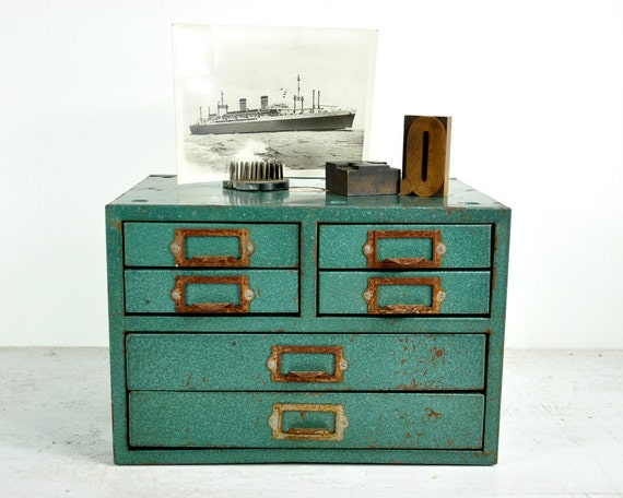 Vintage Metal Shop Drawer Cabinet