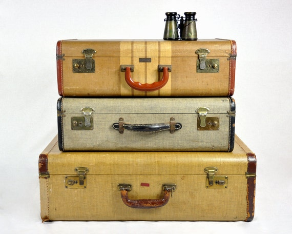 RESERVED Vintage Set of 40's Suitcases / Vintage Luggage