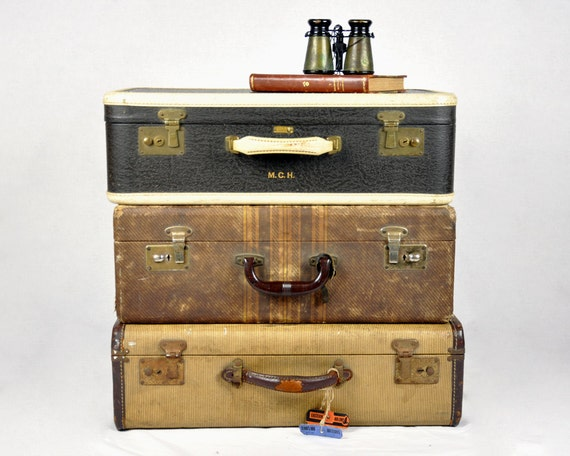 Vintage Set of 40's Suitcases / Vintage Luggage / Set of