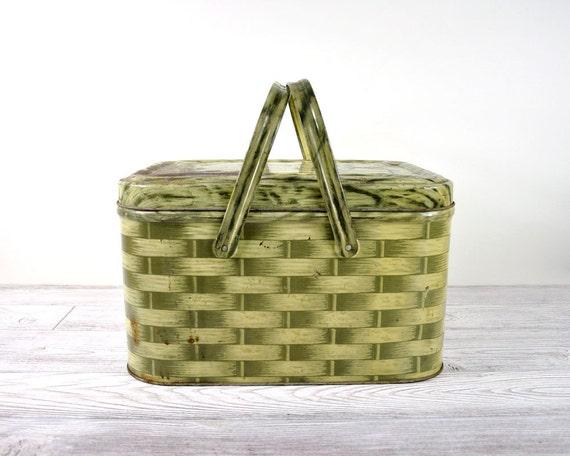 Vintage Tin Picnic Basket / Faux Bois Wicker Basket