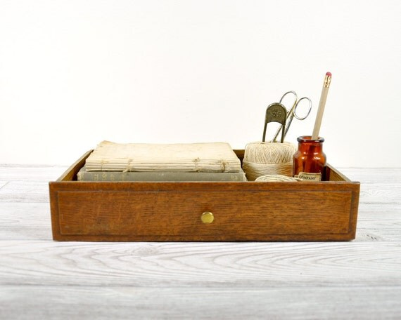 Vintage Oak Wood Drawer / Industrial Storage / Wooden Box