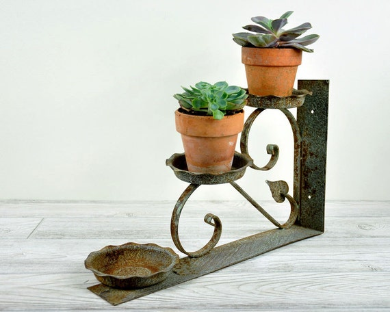 Vintage Wrought Iron Plant Holder Wall Bracket / Garden Decor