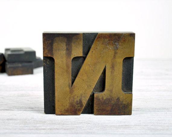 Vintage Letterpress Letter N / Printers Block / Industrial Decor