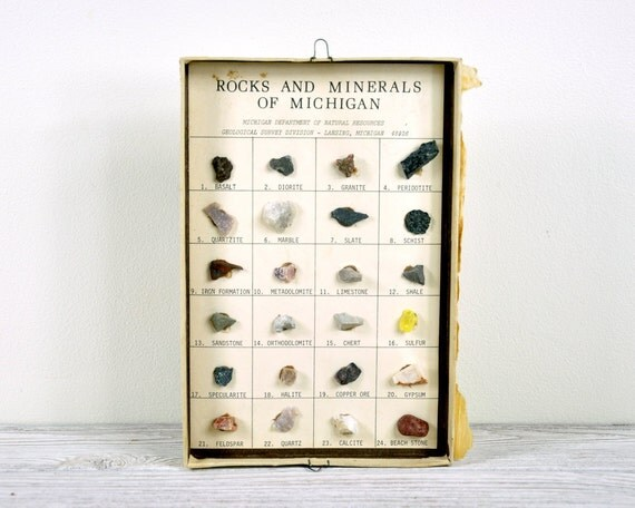 Vintage Rocks & Minerals Collection / Natural History Rock Collection