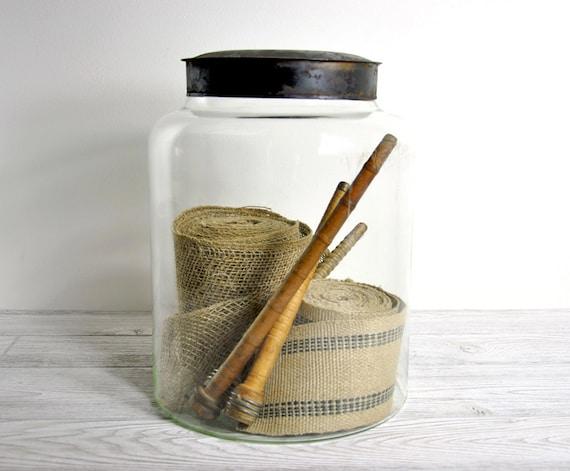 RESERVED - Vintage Large Glass Storage Jar with metal lid / Industrial Decor