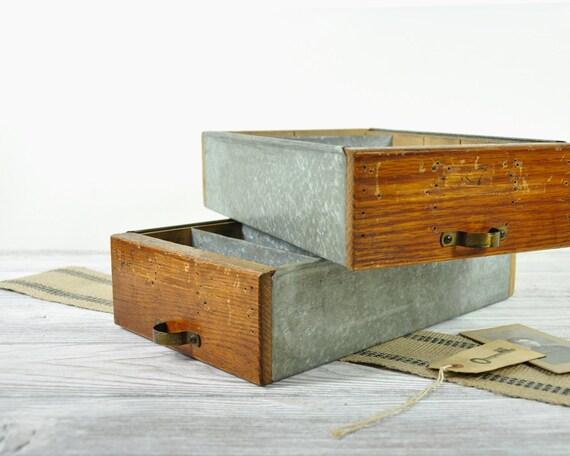 Vintage Industrial Wood and Metal Drawer / Wood Shop Drawer / Industrial Storage
