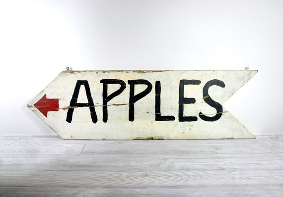 Vintage Rustic Fruit Stand Sign / Rustic Wood Sign / Apples Sign