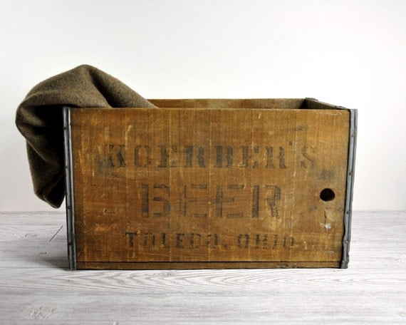 Vintage Industrial Rustic Wood Beer Crate / Industrial Storage