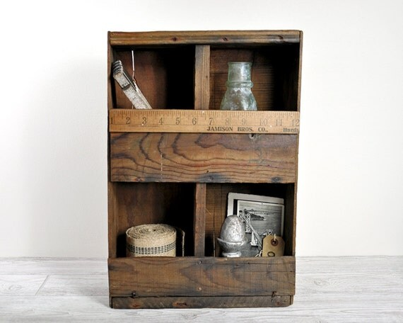 Vintage Hand Made Wood Box  / Industrial Decor