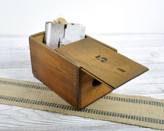 Vintage No. 5 Wood Box with Sliding Lid / Industrial Storage