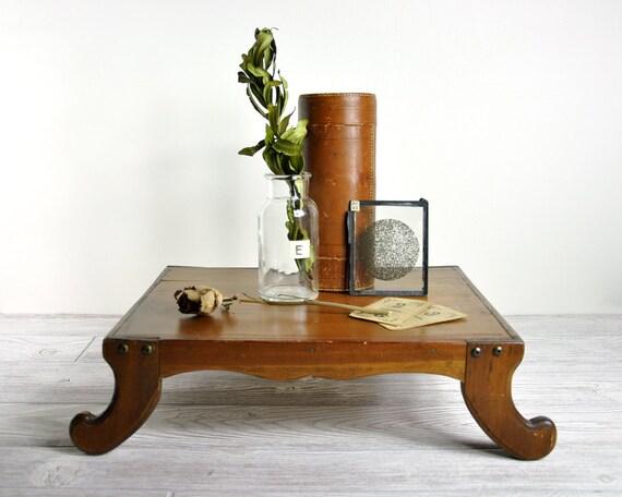 Vintage Wood Pedestal Display Base / Footed Wood Tray