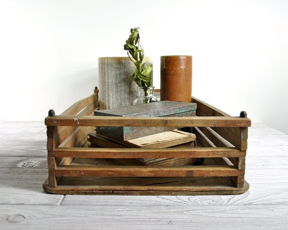 RESERVED - Vintage Rustic Wood Tray / Slated Wood Tray / Industrial Decor