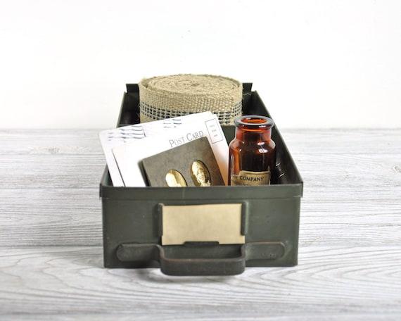 Vintage Metal Drawer / Army Green Metal Bin / Industrial Storage