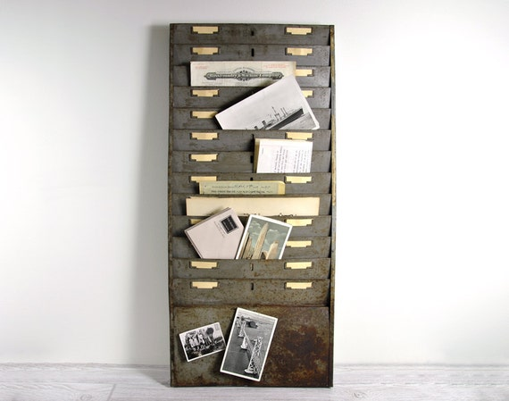 Vintage large industrial wall file or magazine rack - Magazine wall decor ...