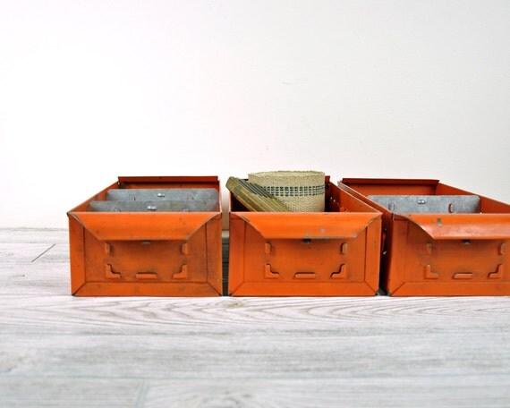 Vintage Industrial Metal Shop Drawer / Metal Storage Bin / Industrial Storage