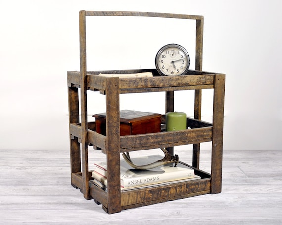 Vintage Wood Three Tier Berry Crate / Industrial Decor