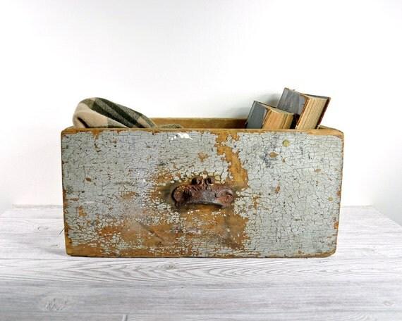 Vintage Primitive Painted Wood Drawer / Industrial Storage / Wooden Box