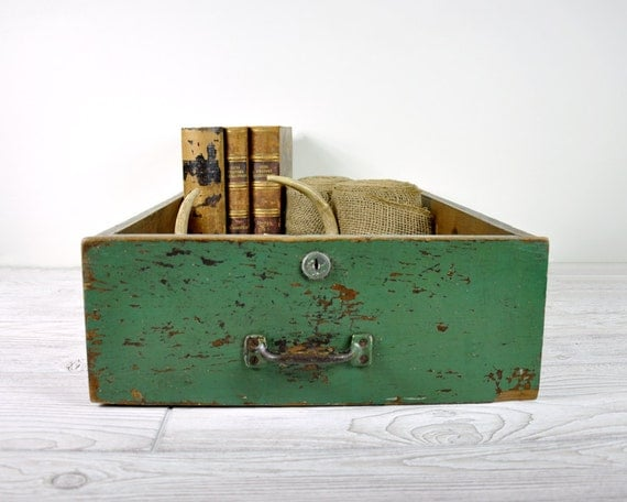 Vintage Rustic Painted Wood Drawer / Industrial Storage / Wooden Box