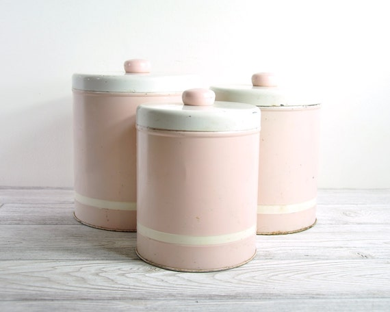 pink canisters kitchen vintage canister set mid century kitchen by havenvintage 14554