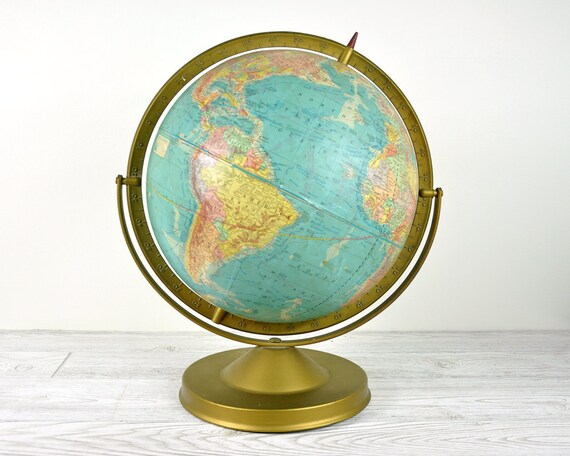 "Vintage 12"" World Globe / 1940's Globe"
