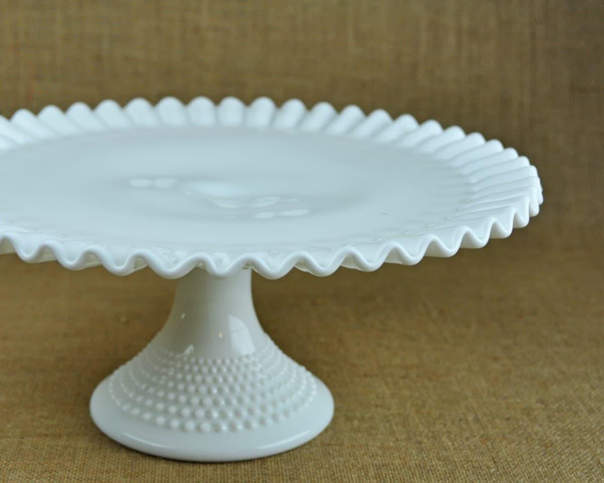 Vintage Fenton Hobnail Milk Glass Cake Plate By Havenvintage