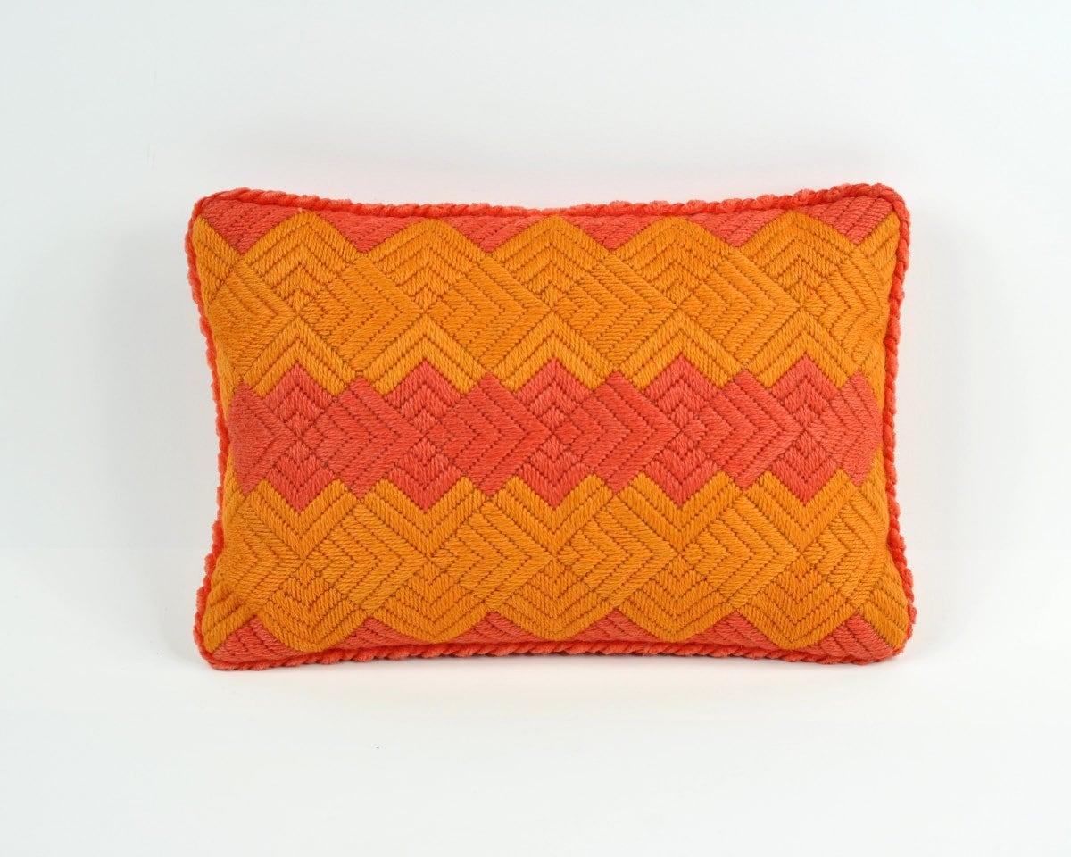 Midcentury Pillow : Vintage Mid Century Needlepoint Pillow