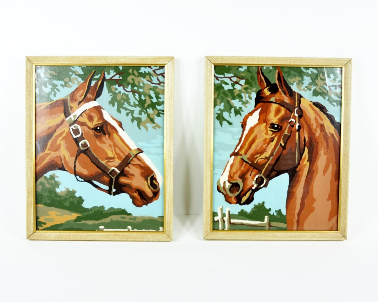 Vintage Paint By Number Horse Painting By Havenvintage On Etsy