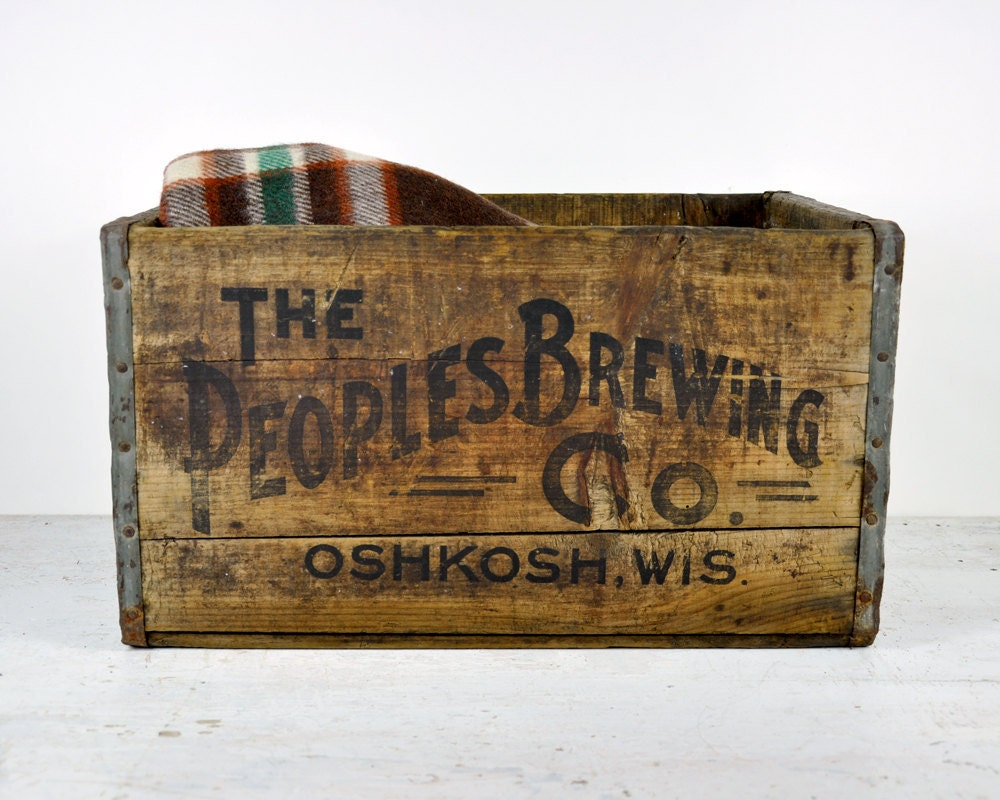 Vintage the peoples brewing co wooden shipping crate for Where to buy old crates