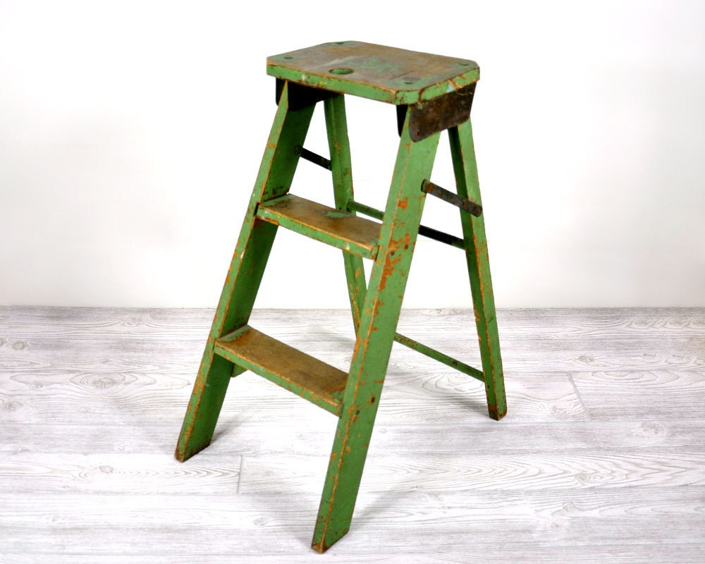 Vintage Folding Step Stool Or Step Ladder
