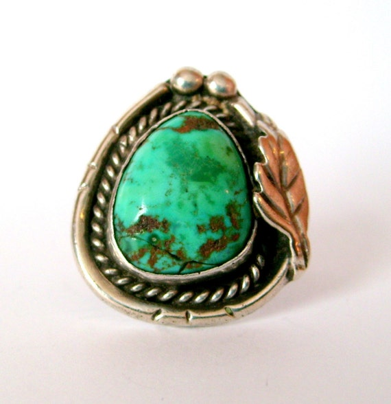Old Native American Sterling Silver Turquoise Ring