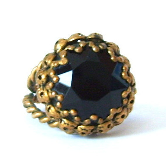 Victorian Revival Mourning Ring Black Glass Stone