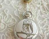 Owl Pocket Watch Necklace - Silver Quartz Watch Necklace - Long Charm Necklace