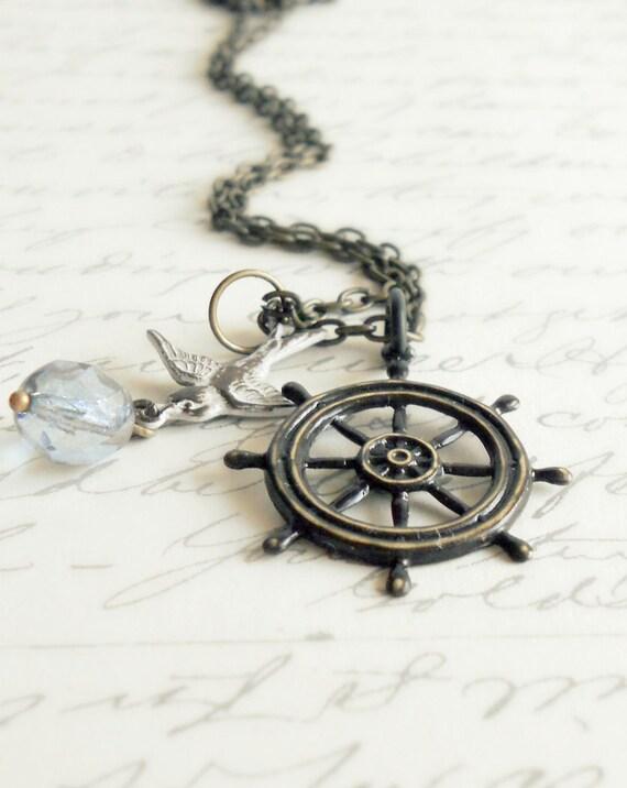 Ship Wheel Necklace - Hand Patina Vintage Jewelry - Katherine
