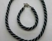 Beaded Necklace Bracelet Set Black and Grey.Seed bead