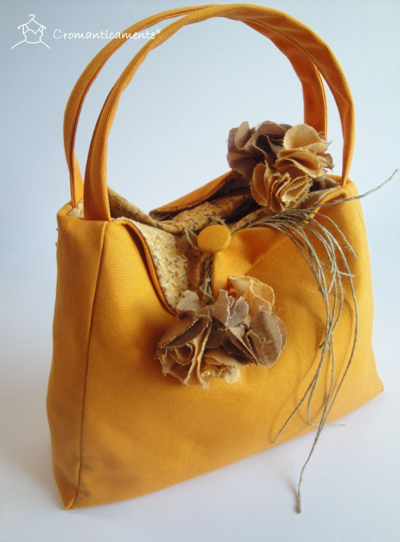 FREE SHIPPING - Orange handbag embellished with linen flowers - Handmade in Italy -