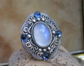Filigree Style Ring-  Blue Moonstone