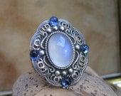 Filigree Style Ring-  Blue Moonstone
