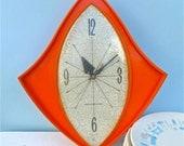 Vintage General Electric Orange Wall Clock - Model 2159 1960's