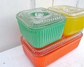 Vintage Ribbed Glass Colorful Refrigerator Dishes Set of 3