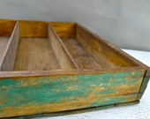 Antique Weathered Wooden Utensil Box Shabby