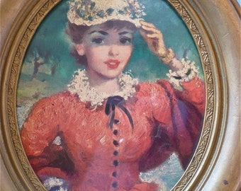 Vintage Antique Pretty Lady Portrait in Oval Frame