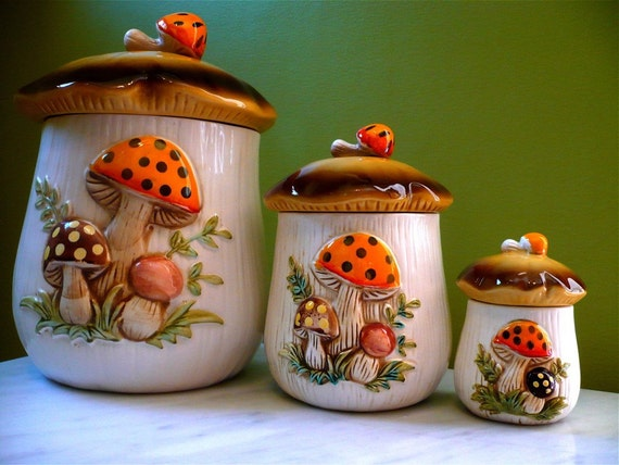 1970 S Sears Merry Mushroom Kitchen Canister Set